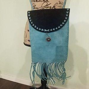 Handbags - NEW HANDMADE BLUE SUEDE FRINGE CROSSBODY HANDBAG